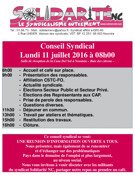 Affiche conseil syndical 11 juillet 2016